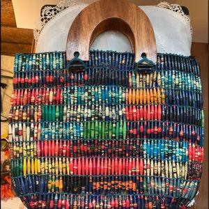 NWOT handmade African paper bead and wood handbag